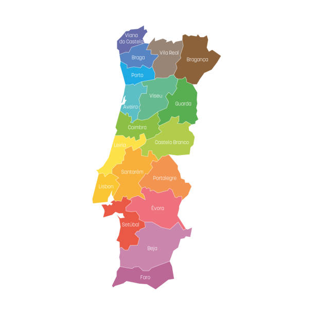 ilustrações de stock, clip art, desenhos animados e ícones de districts of portugal. map of regional country administrative divisions. colorful vector illustration - ilustrações de portalegre