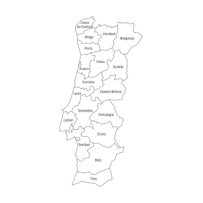Districts of Portugal. Map of regional country administrative divisions. Colorful vector illustration