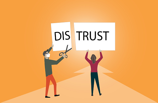 Distrust transformed to trust.Conceptual image importance of trust and cooperation in successful business.