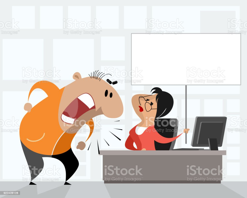 Disturbed man in office vector art illustration