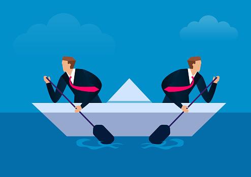 Disunited, two businessmen paddling in opposite directions