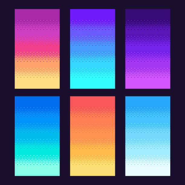 Dithering pixels background. Old retro video game pixel art gradient, retro arcade games 8 bit sky vector illustration set Dithering pixels background. Old retro video game pixel art gradient, retro arcade games 8 bit sky. Arcade pixels platform evening, sunset or night sky colorful vector illustration set number 8 stock illustrations