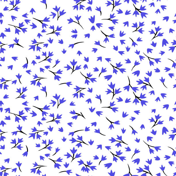 Ditsy floral seamless pattern. Simple meadow wild flowers isolated. Flat drawing. Small daisies in cartoon style. Spring nature botanical background. Fashion design for fabric and textile. Ditsy floral seamless pattern. Simple meadow wild flowers isolated. Flat drawing. Small daisies in cartoon style. Spring nature botanical background. Fashion design for fabric and textile. floral and decorative background stock illustrations