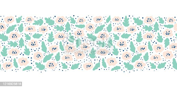 istock Ditsy Flower meadow seamless vector border. Pink teal green florals on white background. Repeating ditsy flowers in Scandinavian style. 1216925818