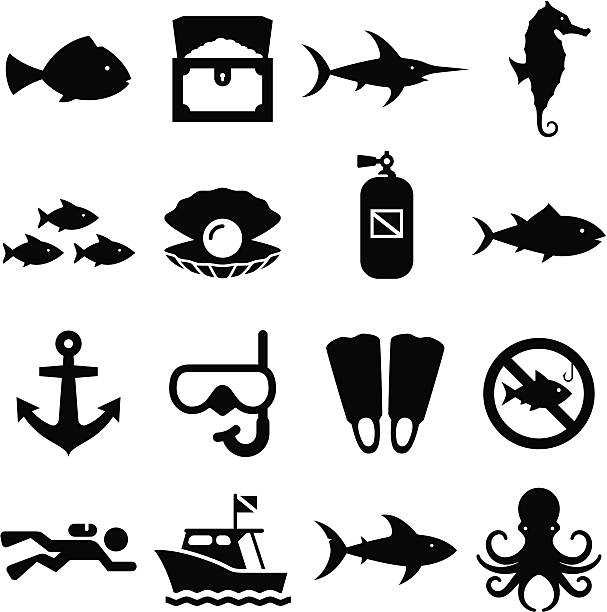 dive 아이콘-블랙 시리즈 - 오리발 stock illustrations