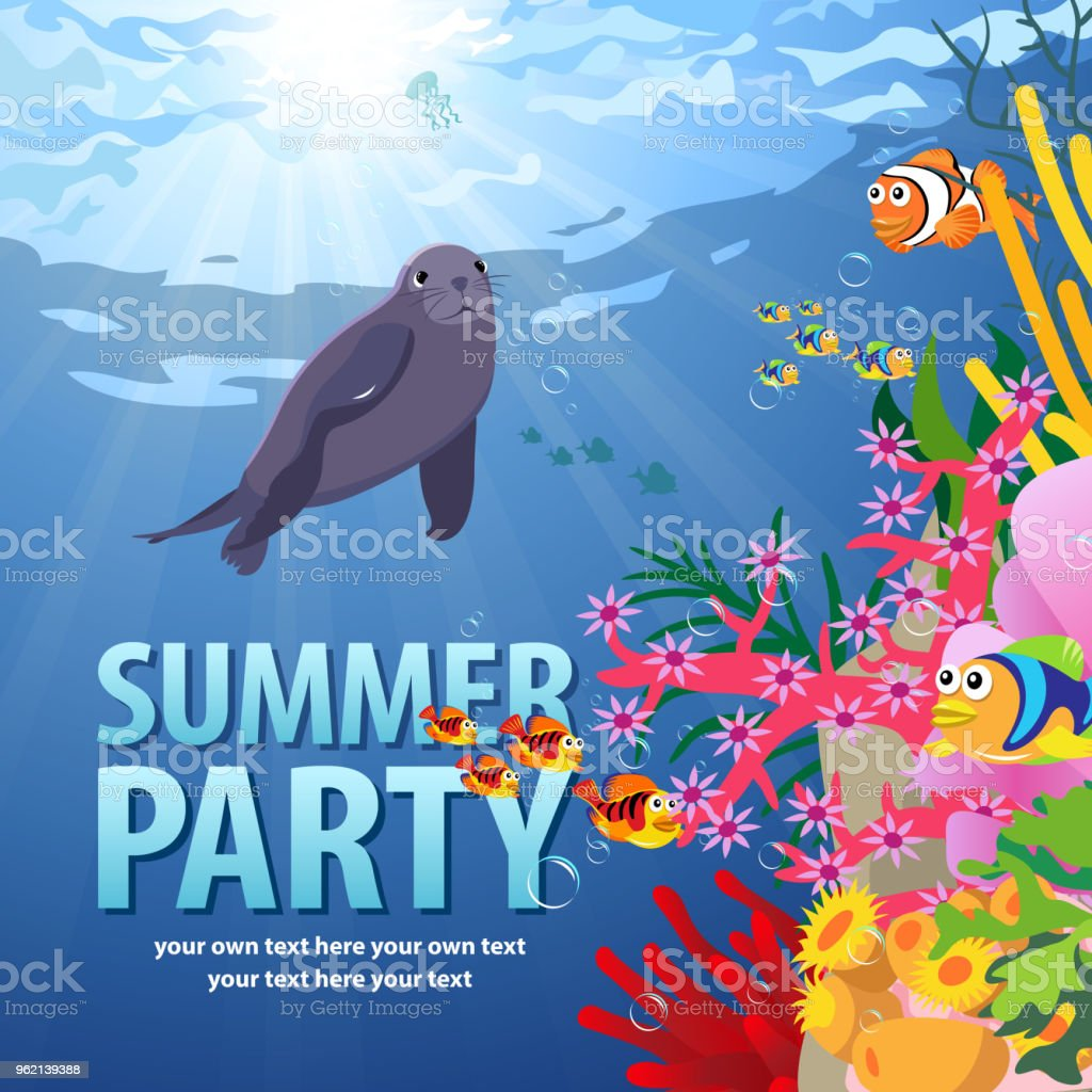 Dive Party with Sea Life vector art illustration