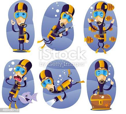 istock Diver action set 455430713