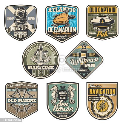 Marine and nautical vintage badges. Vector diving elment, lighthouse and captain, sailor cap and sextant, sea turtle and compass, helm and seahorse