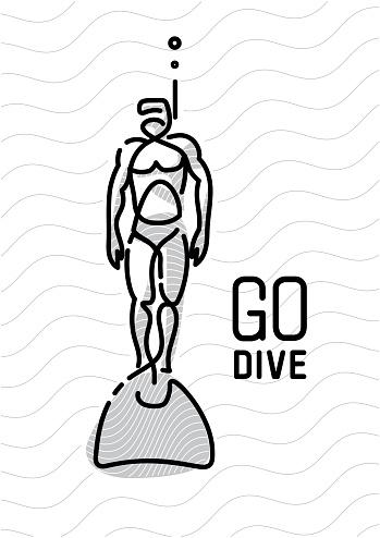 diver. continuous line