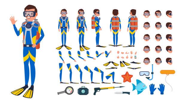다이 버 사람 벡터입니다. 애니메이션된 캐릭터 만들기 세트입니다. 아래 물. 스쿠버 다이 버. 다이빙 스노클링. 전체 길이, 전면, 측면, 후면, 포즈, 얼굴 감정, 몸짓. 플랫 만화 삽화를 절연 - 오리발 stock illustrations
