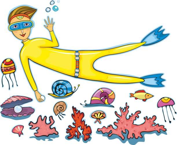 illustrazioni stock, clip art, cartoni animati e icone di tendenza di sommozzatore set - frogman