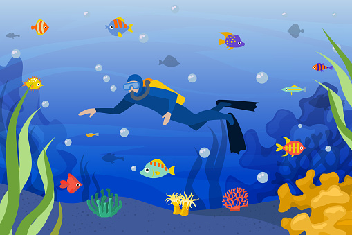 Diver underwater, vector illustration. Scuba man in ocean activity sport with tropical fish, dive with mask in blue water.