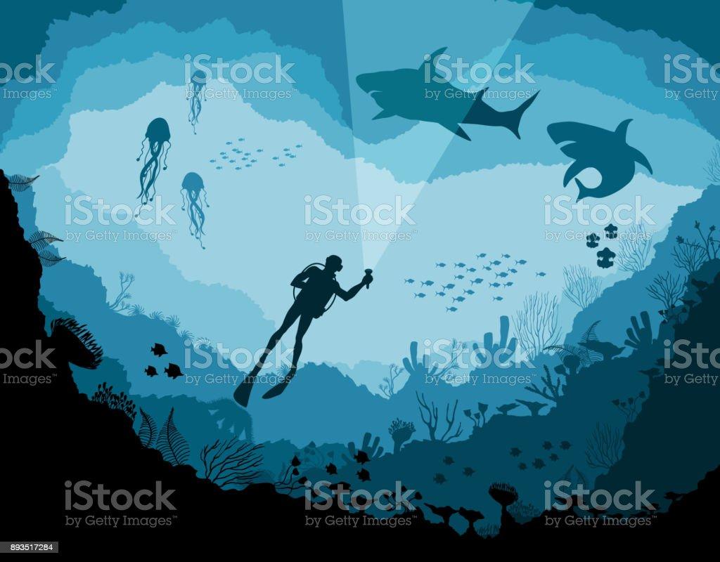Divers and sharks, reef Underwater wildlife divers and sharks reef underwater wildlife - immagini vettoriali stock e altre immagini di acqua royalty-free