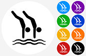 Divers Icon on Flat Color Circle Buttons