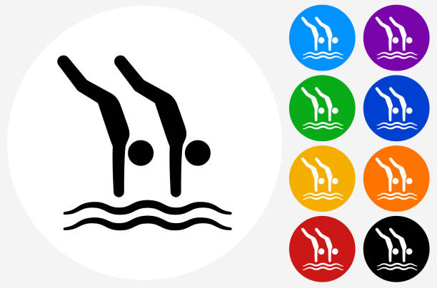 Divers Icon on Flat Color Circle Buttons Divers Icon on Flat Color Circle Buttons. This 100% royalty free vector illustration features the main icon pictured in black inside a white circle. The alternative color options in blue, green, yellow, red, purple, indigo, orange and black are on the right of the icon and are arranged in two vertical columns. diving into water stock illustrations