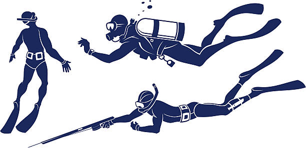 Divers set Three stylized divers set. Each on separate layers. It`s easy to edit. diving into water stock illustrations