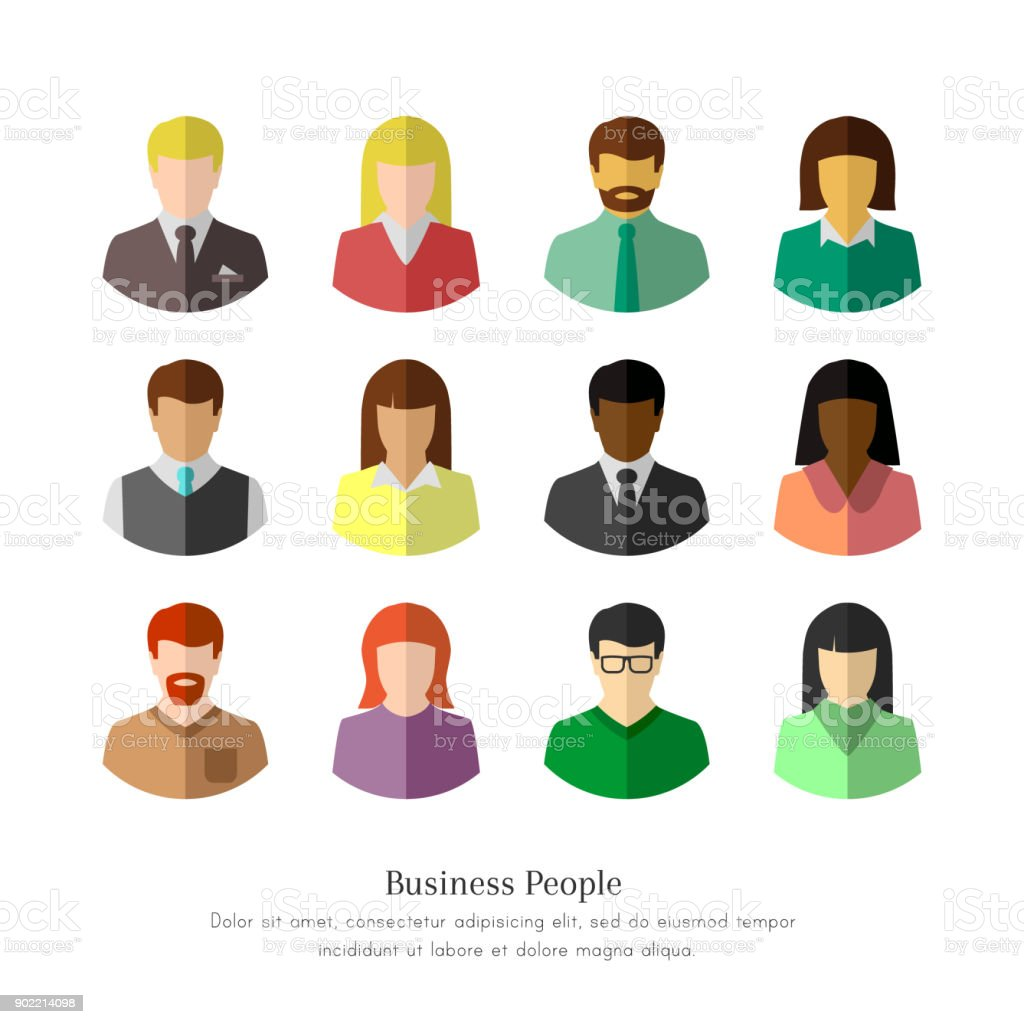 Diverse business people in flat design vector art illustration