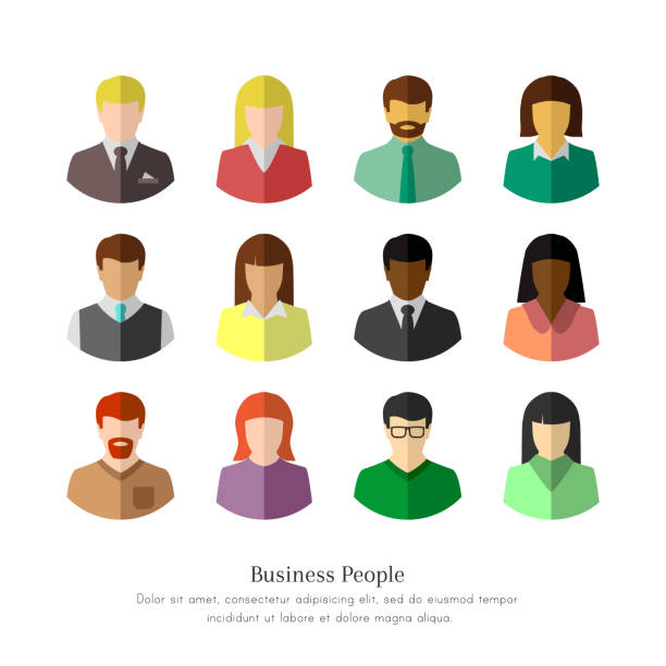 diverse business people in flat design - flat design icons stock illustrations, clip art, cartoons, & icons