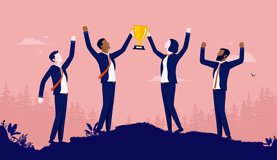 Diverse business team winning award