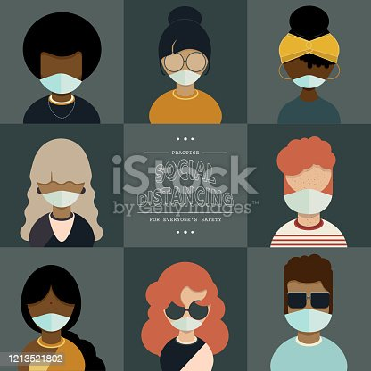 istock Diverse Character Set Wearing Medical Masks, Coronavirus Pandemic Concept, with Text: Practice Social Distancing For Everyone's Safety 1213521802