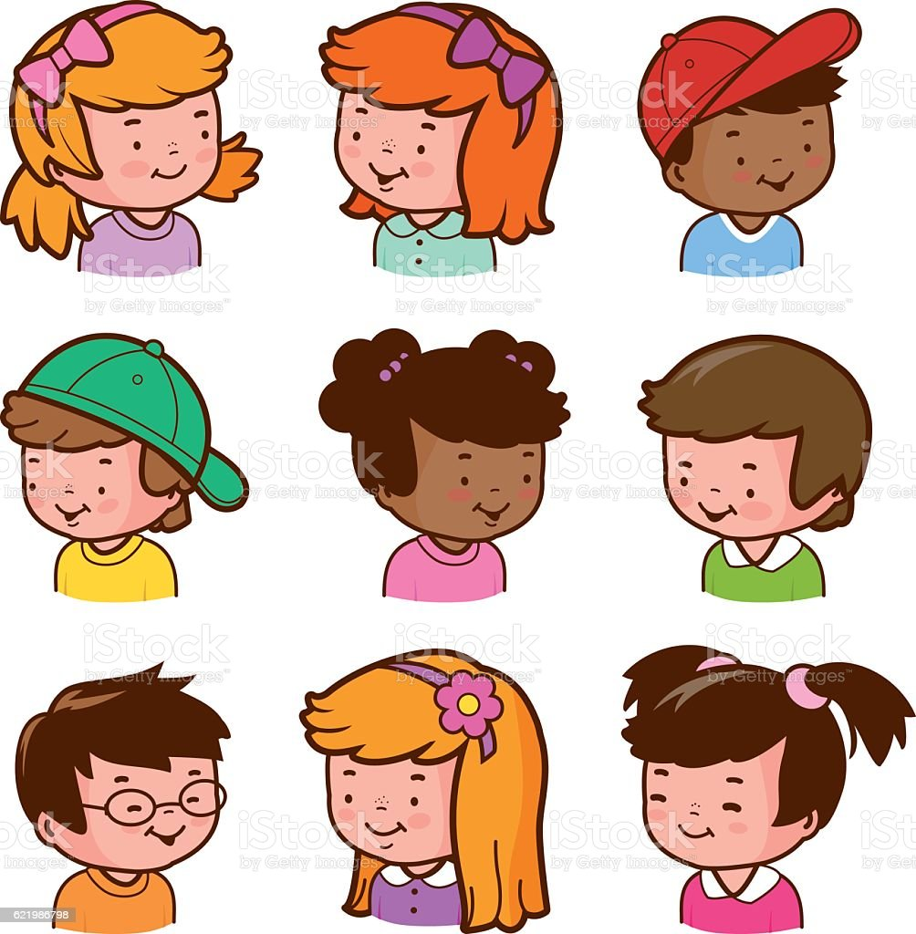 diverse children faces stock vector art more images of african rh istockphoto com