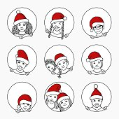 Hand drawn illustration of diverse children with Santa hats, looking through round circle windows