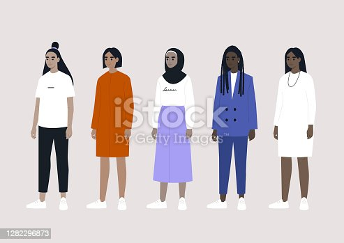 A diverse collection of female characters: Asian, Arab, Caucasian and Black