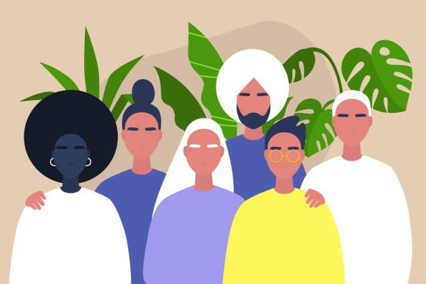 ilustrações, clipart, desenhos animados e ícones de comunidade diversa dos jovens - africano, caucasiano, indiano, amizade e sustentação - consciência negra