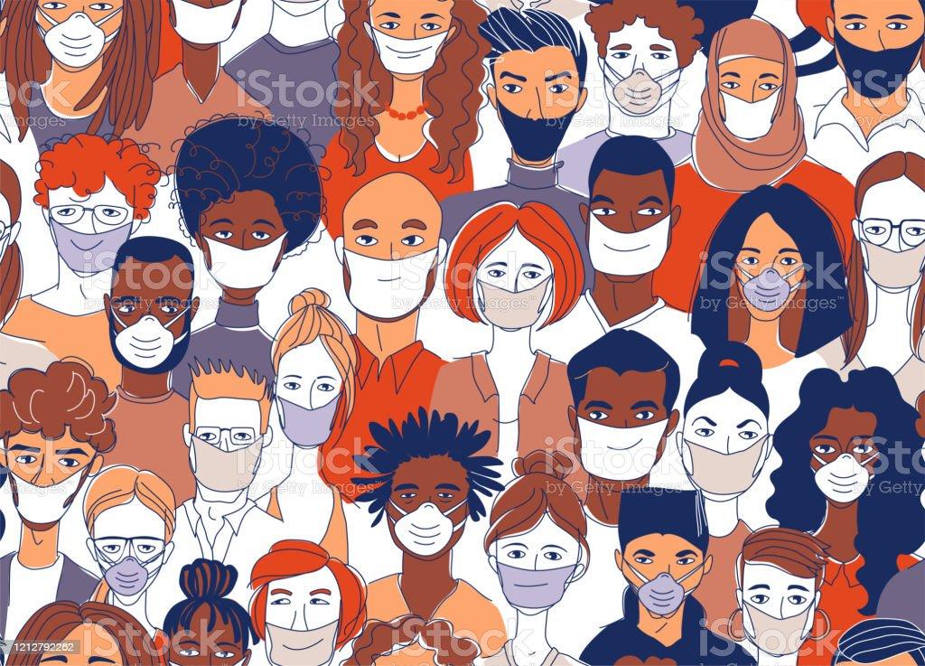 Diversas personas del grupo de multitudes que llevan máscaras médicas protecn la epidemia de coronavirus. - arte vectorial de Adulto libre de derechos