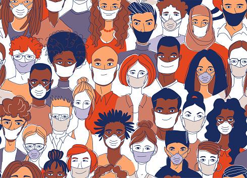 Diverse crowd group people wearing medical masks protection coronavirus epidemic.