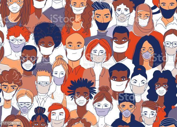 Ilustración de Diversas Personas Del Grupo De Multitudes Que Llevan Máscaras Médicas Protecn La Epidemia De Coronavirus y más Vectores Libres de Derechos de Adulto