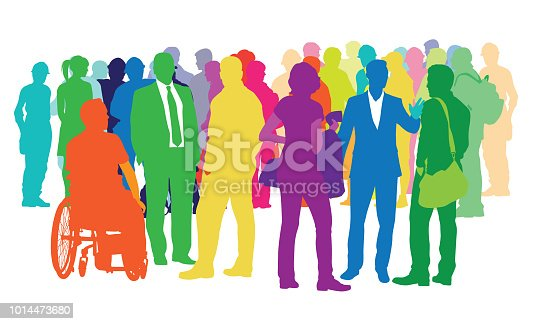 Large crowd of various people in colored silhouettes