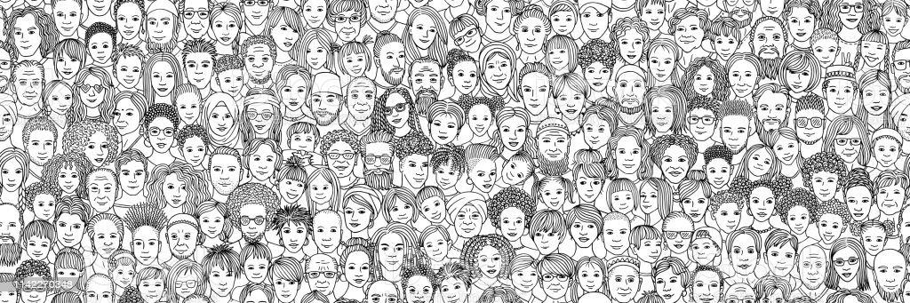 人々の多様な群衆: 子供、十代の若者たち、大人とシニア - いたずら書きのロイヤリティフリーベクトルアート