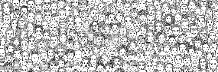 Diverse crowd of people: children, teenagers, adults and senior citizens - seamless banner of hand drawn faces of various age groups and ethnicities