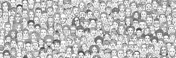 Diverse crowd of people: kids, teens, adults and seniors Diverse crowd of people: children, teenagers, adults and senior citizens - seamless banner of hand drawn faces of various age groups and ethnicities crowd of people stock illustrations