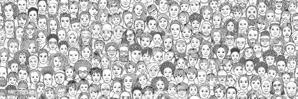 人々の多様な群衆 子供十代の若者たち大人とシニア - いたずら書きのベクターアート素材や画像を多数ご用意