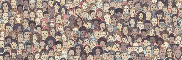 Diverse crowd of people: kids, teens, adults and seniors Diverse crowd of people: children, teenagers, adults and senior citizens - seamless banner of hand drawn faces of various age groups and ethnicities community drawings stock illustrations