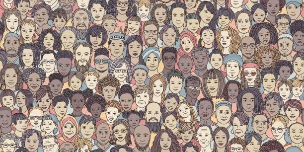 Diverse crowd of people: kids, teens, adults and seniors vector art illustration