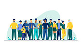 Diverse crowd of people of different ages and races. Multiracial community members standing together. Vector illustration for civil society, diversity, multinational public concept