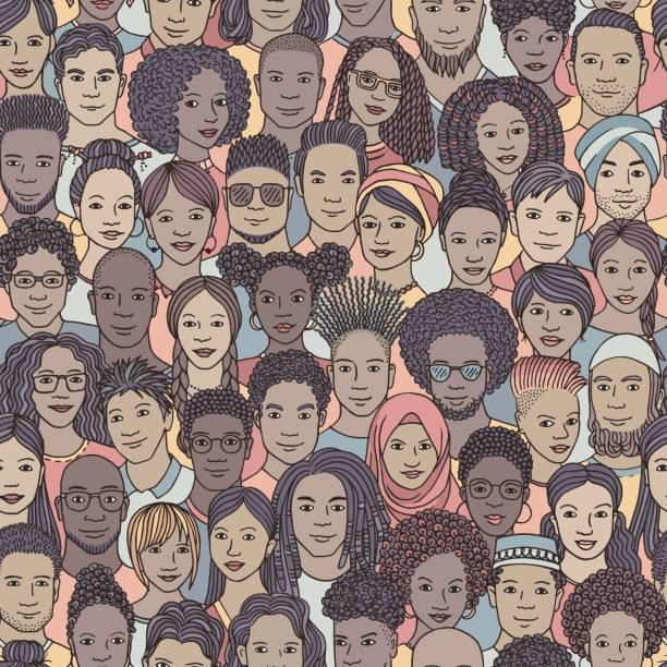 Diverse crowd of people, seamless pattern vector art illustration