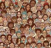 Diverse crowd of people - seamless pattern