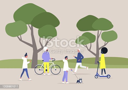 istock A diverse crowd of people walking and doing sports in a public space, summer outdoor leisure, recreation 1205901011