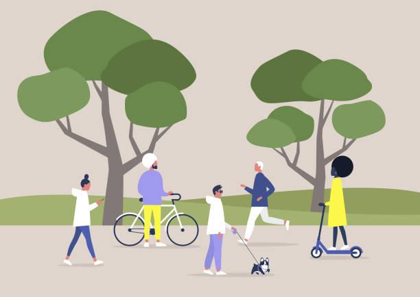 A diverse crowd of people walking and doing sports in a public space, summer outdoor leisure, recreation A diverse crowd of people walking and doing sports in a public space, summer outdoor leisure, recreation natural parkland stock illustrations