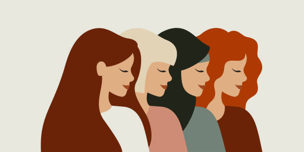 ilustrações de stock, clip art, desenhos animados e ícones de diverse female portraits of different nationalities and cultures isolated from the background - women