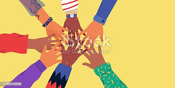 Diverse young people hands on isolated background. Teenager hand group high five celebration or friend community concept. Flat cartoon illustration of men and women arms.