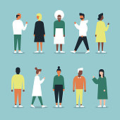 Diverse full-length adults in casual clothing full-color vector illustration set