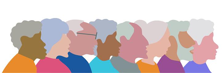 Diverse Fun Character Group of Elderley People