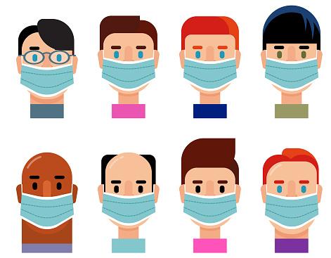 Diverse Group Character Icon Set Wearing Medical Masks