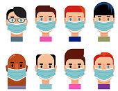 Diverse Group Character Icon Set Wearing Medical Masks, COVID19 Corona Virus Concept