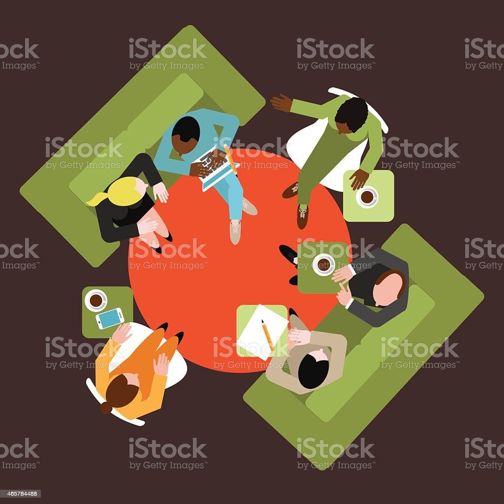 Diverse group of business men and women flat design vector art illustration